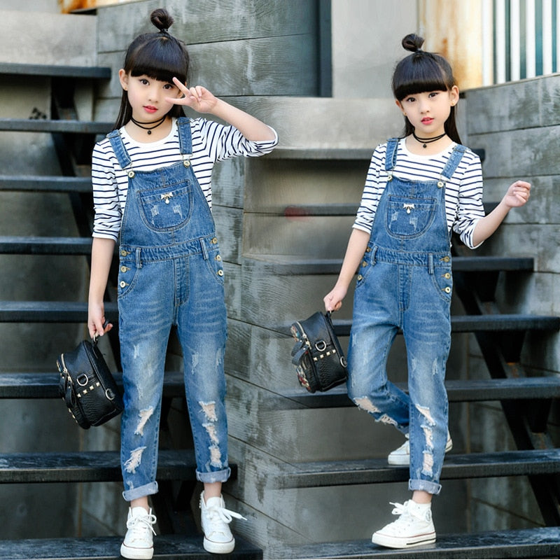 2020 Spring Hole Ripped Jeans for Girl Kids Clothing Denim Jumpsuit Overall Jeans Garcon Clothes Children Trousers 4 6 9 12 Year