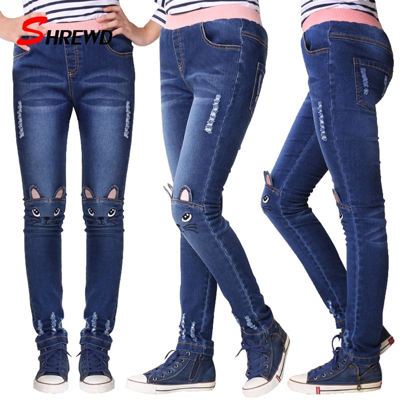 2-14Y Teenage Girls Leggings Fashion Cartoon Cat Girls Jeans Pants Autumn Children Pencil Pants Kids Trousers Pantalon Fillette