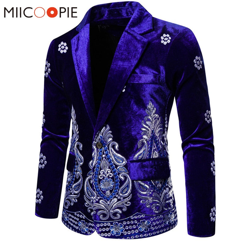 Blue Velvet Mens Floral Blazer Luxury Silver Thread Embroidery Single Button Wedding Suits For Men Social Veste Mariage Homme