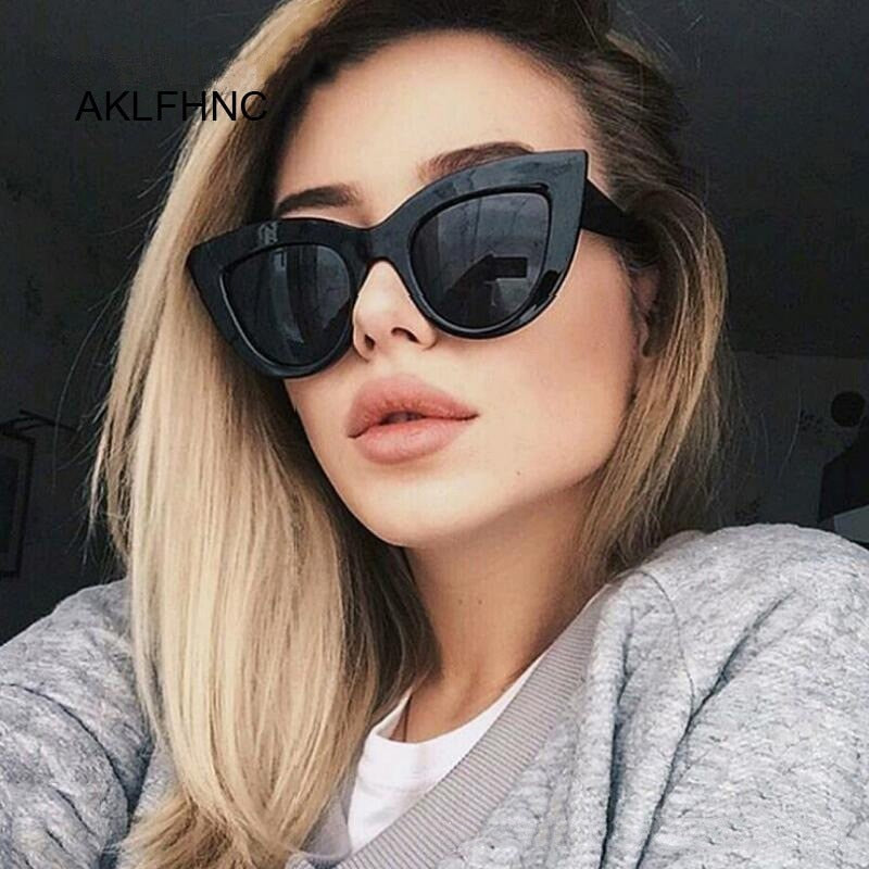 New Retro Fashion Sunglasses Women Brand Designer Vintage Cat Eye Black Sun Glasses Female Lady UV400 Oculos