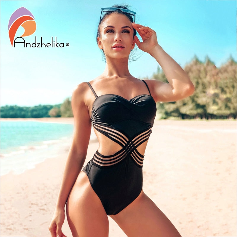 Andzhelika Sexy One-piece Swimsuit Push Up Swimwear Patchwork Mesh Backless Swimwear Beach Monokini Ladies Bathing Suit