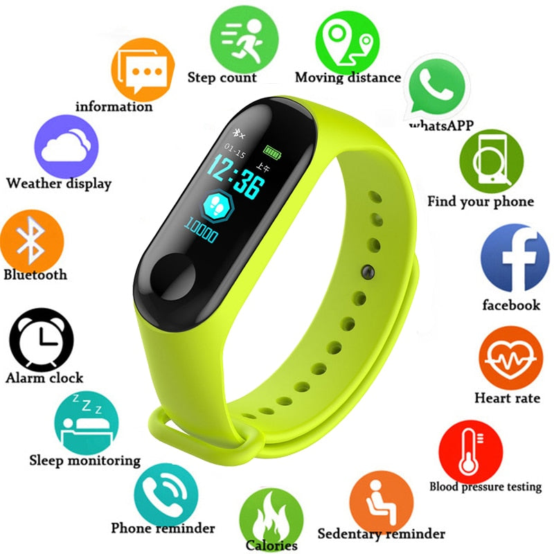 Wristwatch Fitness M3 Color Screen Smart Sport Bracelet Activity Running Tracker Heart Rate For Children Men Women Watch Hours