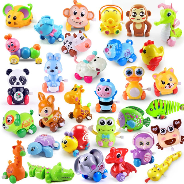 1 Pieces Baby Funny Kids Toys Spring Clockwork Toy Mini Pull Back Jumping Frog/Dog/Lion Wind Up Toys for Children Boys