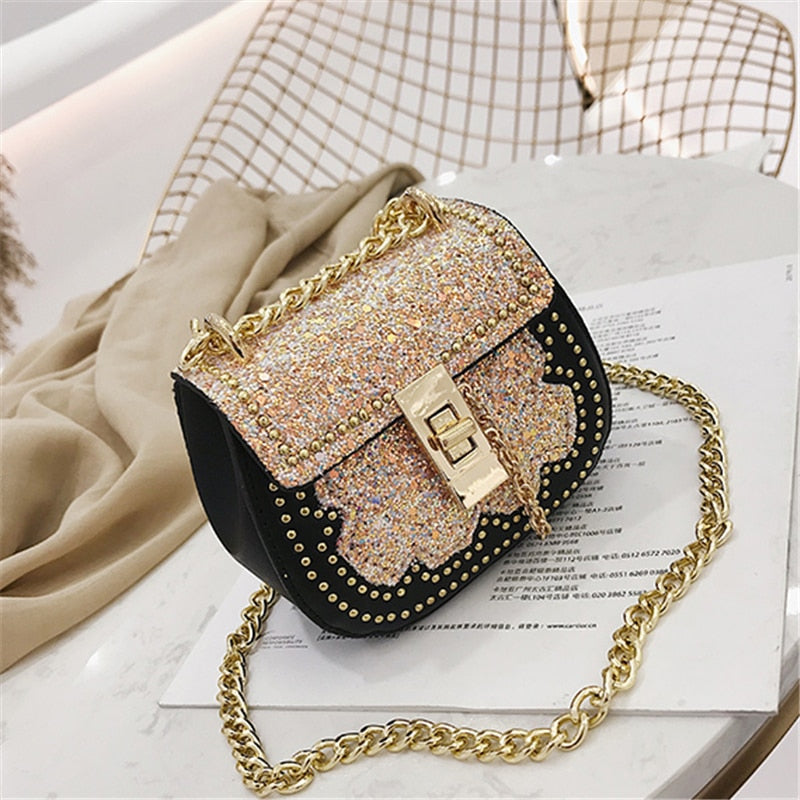 Baby Girl Bags Crystal Children Shoulder Messenger Bags Mini Kids Glitter Handbag Purse Birthday Gift Princess Evening Party Bag