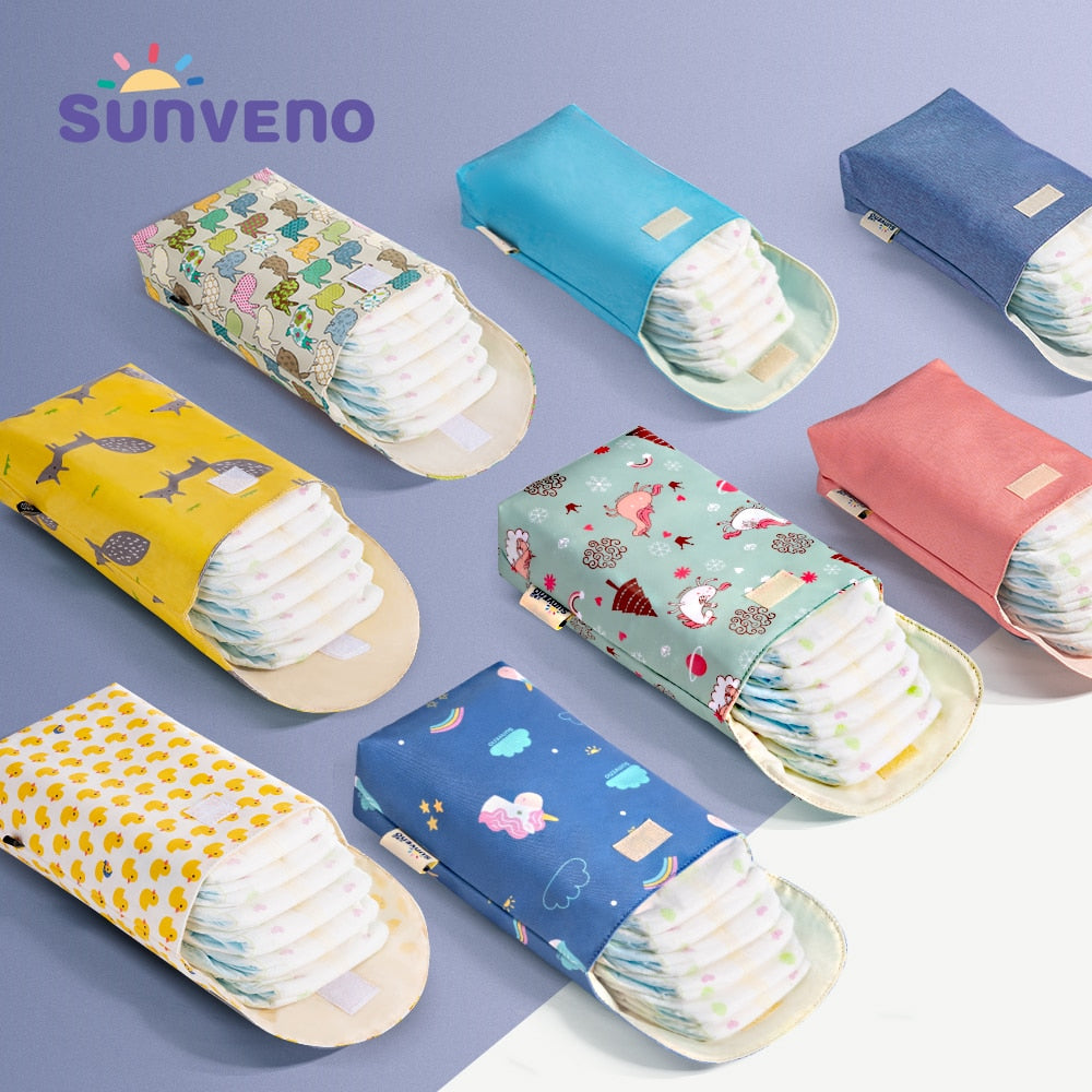 Sunveno Baby Diaper Bag Organizer Reusable Waterproof Fashion Prints Wet/Dry Cloth Bag Mummy Storage Bag Travel Nappy Bag