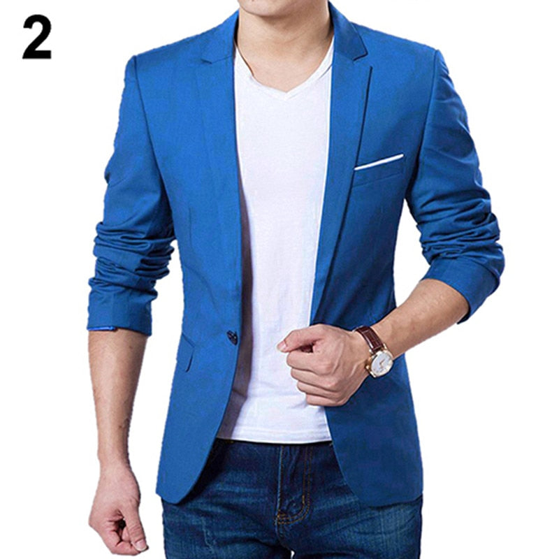 Men Blazers Slim Autumn Suit Blazer Business Formal Party Male Suit One Button Lapel Casual Long Sleeve Pockets Top Plus Size