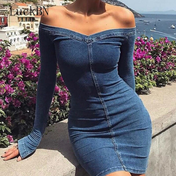 Sexy Women Blue Denim Dress Brand Slim Jeans Dresses One-piece Cowboy Vintage Bodycon Mini Vestidos One Line Button Party Dress