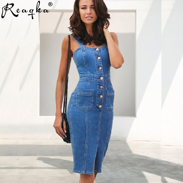 Sexy Blue Denim Party Dress Women befree Brand Slim Jeans Dresses One piece Cowboy vintage Pocket Button Bodycon dress Vestidos