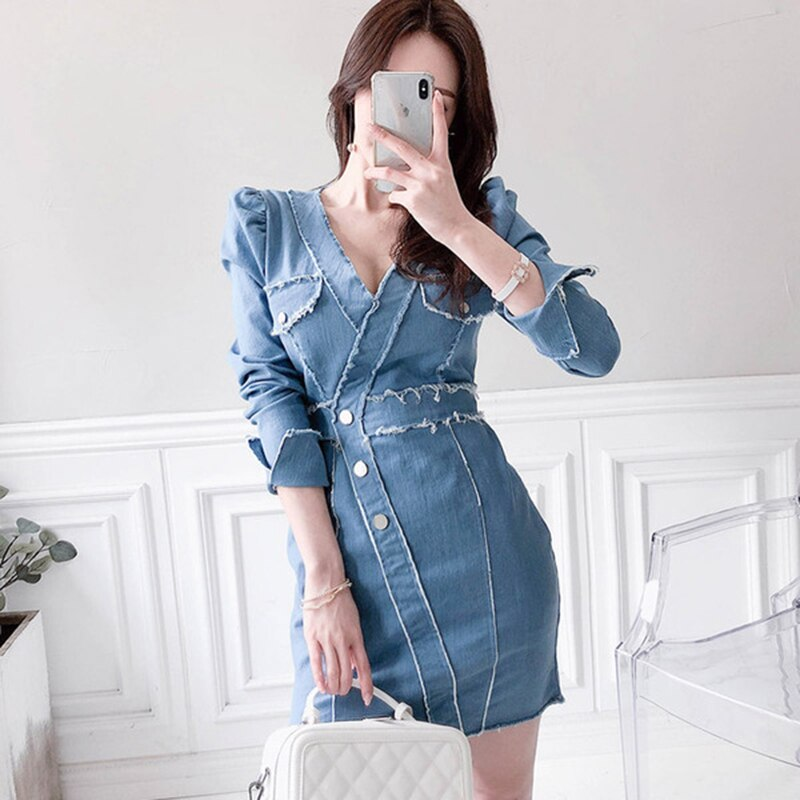 Sexy Women Blue Denim Dress Brand Slim Jean Dresses High Quality Cowboy vintage bodycon Mini Vestidos Elegant Button party dress