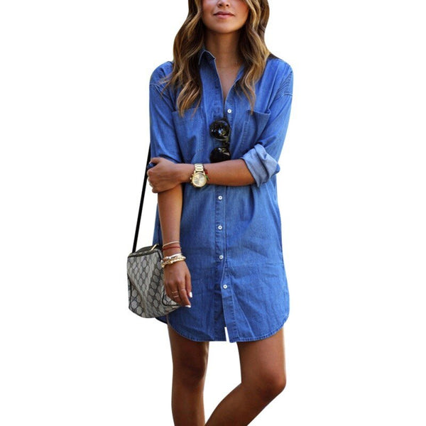 2016 Spring Summer New Brand Casual Fashion Sexy Loose Slim Long Sleeve Office Women Blue Denim Washed Jeans Dress Mini Dress