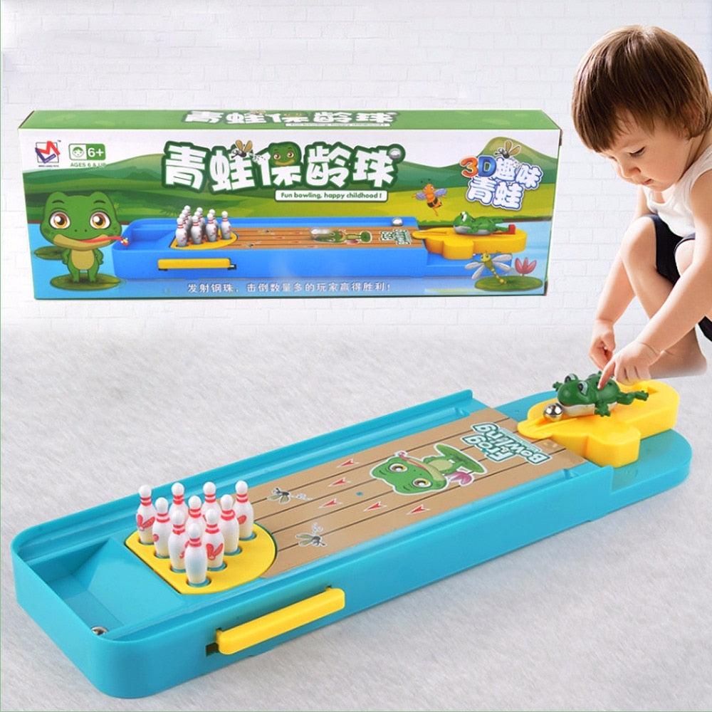 Children Mini Desktop Frog Bowling Toy Kits Portable Indoor Education Table Game Entertainment