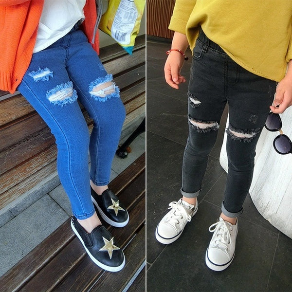 Autumn Girls Kids Cotton Skinny Jeans Children Hole Trousers Pencil pants Girl Black/Blue Ripped Jeans for 3-7 Years Kids Jeans