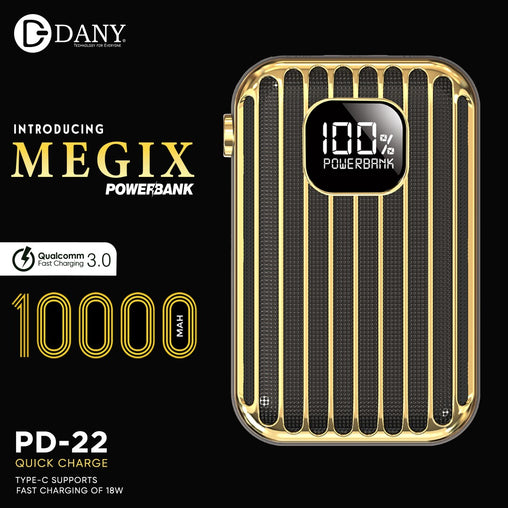 MEGIX POWERBANK 10,000mAh Quick Charge 3.0