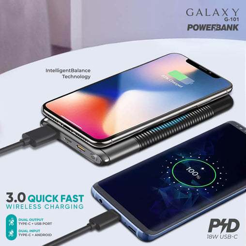 Galaxy G-101 (10,000 mAh) 18W Wireless Power Bank - Dany Technologies