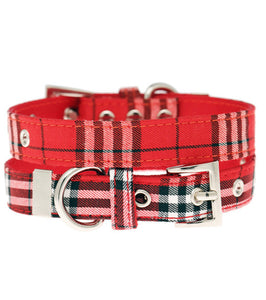 Urban Pup - Red Checked Tartan Fabric Collar
