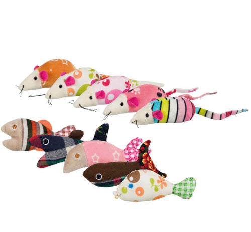Trixie - Catnip Mice & Fish Toys (Varied Colours)