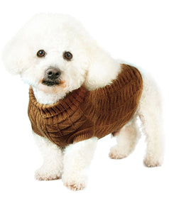 Urban Pup - Chocolate Brown Waffle Knitted Sweater