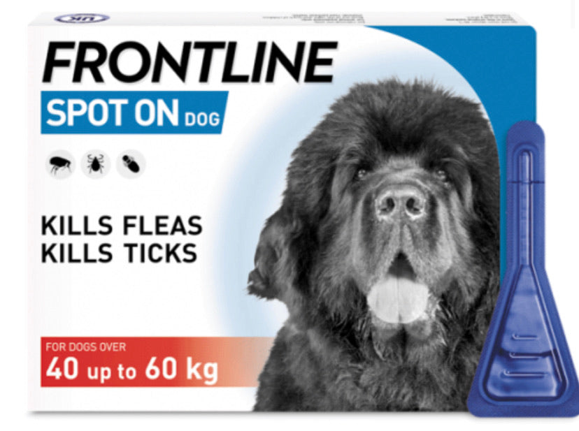 Frontline - Spot on Flea & Tick Treatment for Dogs 40 up to 60kg (3 pippettes)