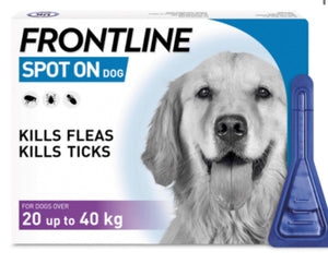 Frontline - Spot on Flea & Tick Treatment for Dogs 20 up to 40kg (3 pippettes)