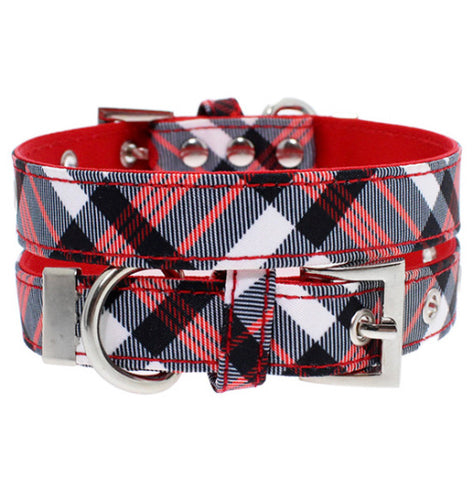 Urban Pup - Red & White Plaid Fabric Collar