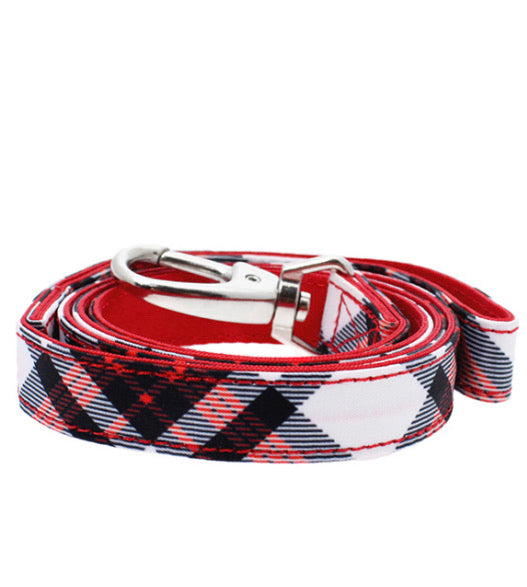 Urban Pup - Red & White Plaid Fabric Lead