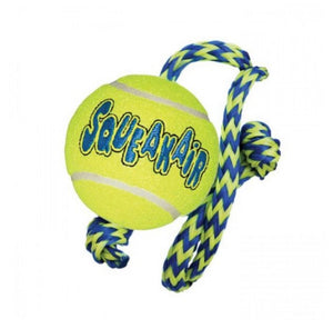 Kong - Air Dog Squeaker Tennis Ball with Rope Medium