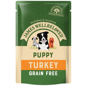 James Wellbeloved - Puppy & Junior Turkey Grain Free Pouches (12x100g)