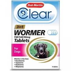 Bob Martin - Clear 3 in 1 wormer (4 tablets)