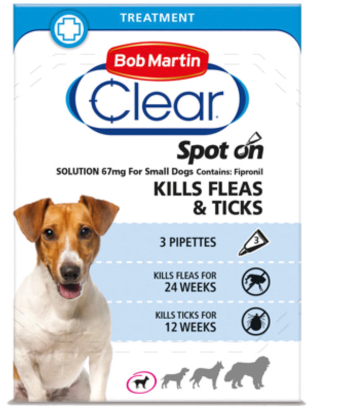 Bob Martin - Clear Spot On for Small Dogs 2 up to 10kg (3 pipettes)
