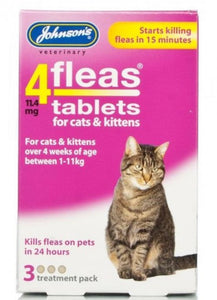 Johnson's - 4Fleas Tablets for Cats & Kittens (3 Tablets)