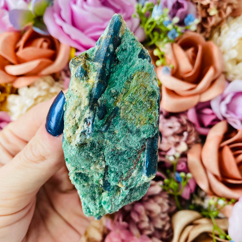 Green Fuchsite and Blue Kyanite - AP Crystals