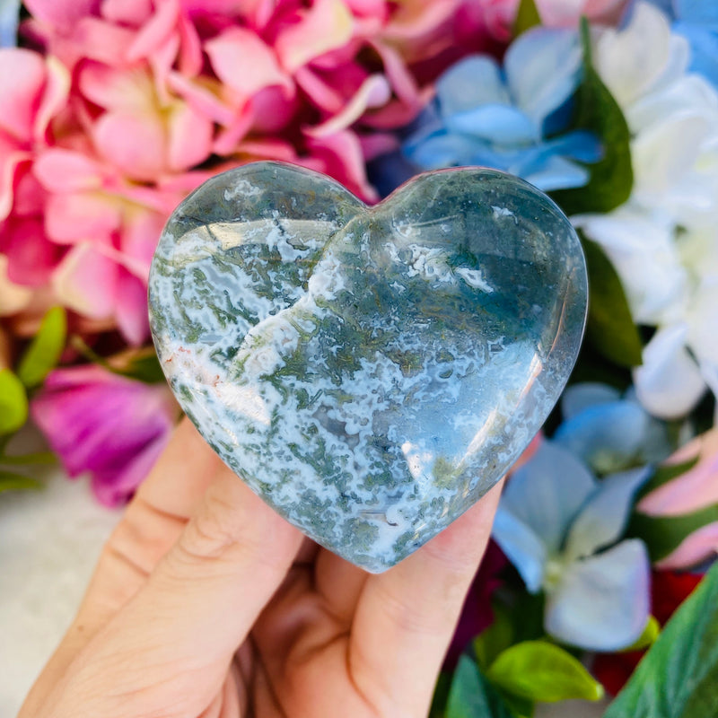 Moss Agate Crystal Heart - AP Crystals