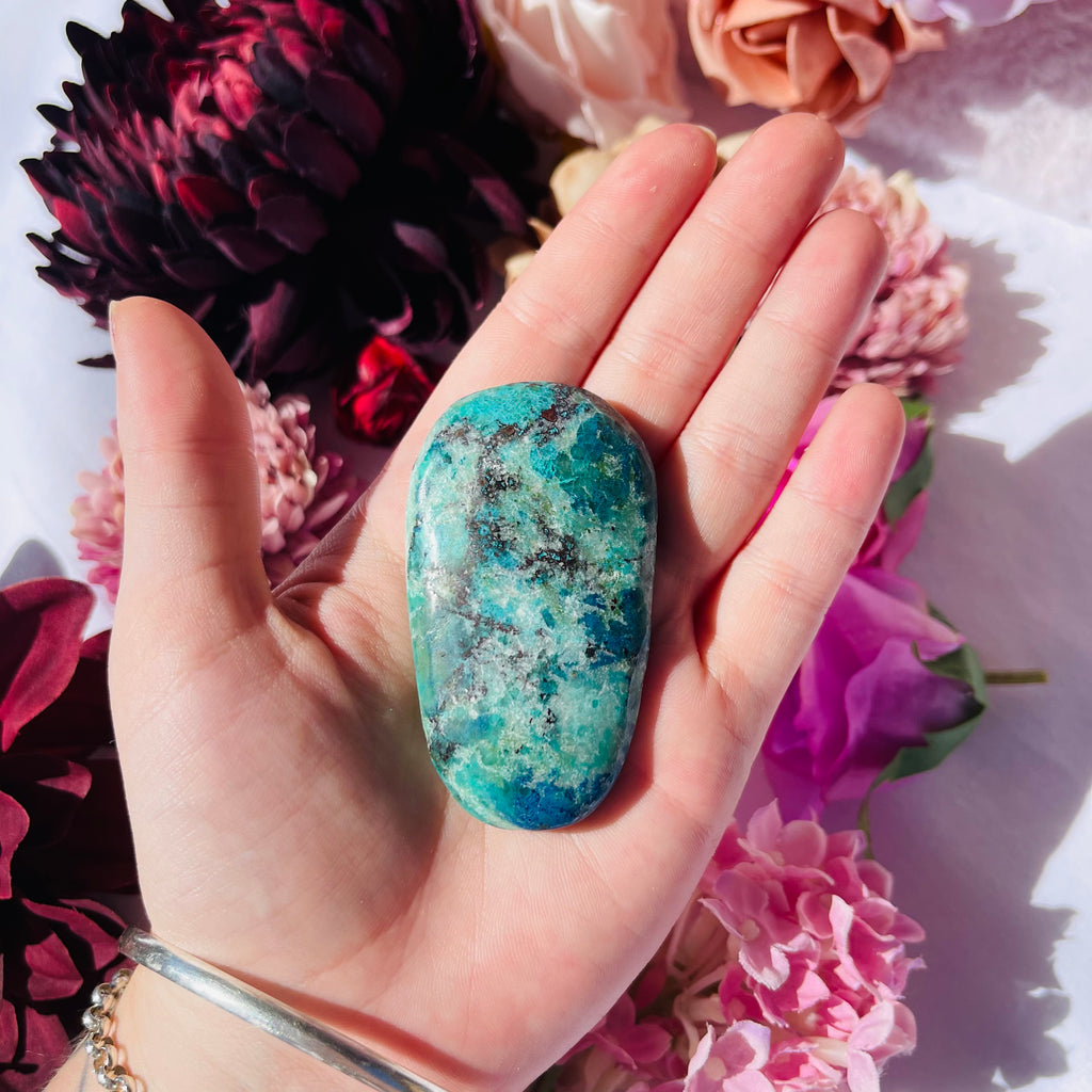 Chrysocolla, Shattuckite and Azurite Palm Stone