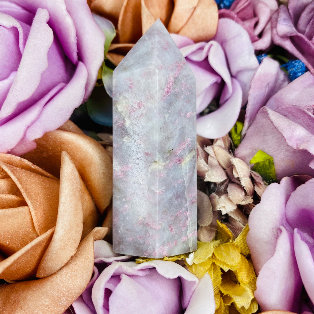 Pink Tourmaline, Lepidolite and Quartz Point