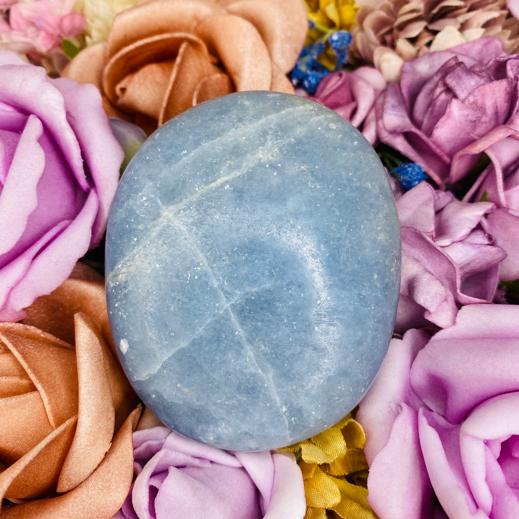 Blue Calcite Palm Stone