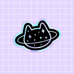 MEOWTER SPACE - Planet Cat holographic vinyl sticker