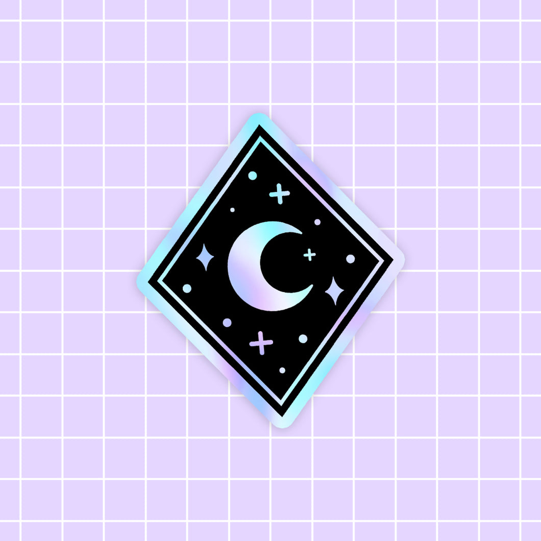 MEOWTER SPACE - Moon Crystal holographic vinyl sticker