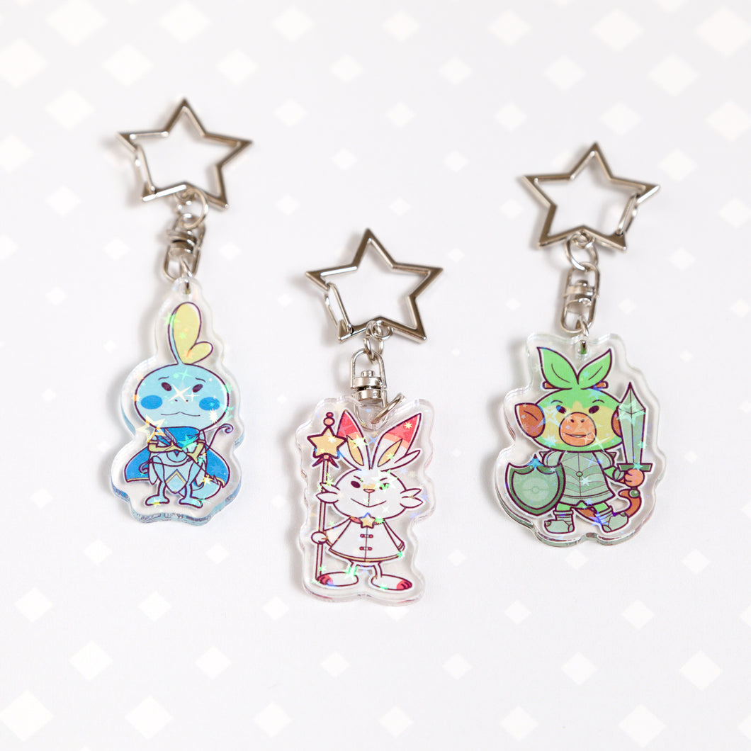 Galar Pokemon - Sobble, Scorbunny and Grookey sparkly acrylic charm / keychain set