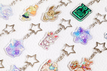 Load image into Gallery viewer, Galar Pokemon - Sobble, Scorbunny and Grookey sparkly acrylic charm / keychain set