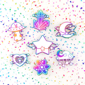 STARLUME - rainbow metal enamel pin - Moon