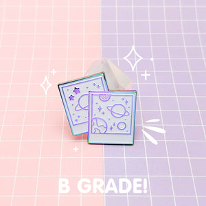 MEOWTER SPACE - rainbow metal B GRADE enamel pin - Celestial Photos