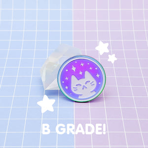MEOWTER SPACE - rainbow metal B GRADE enamel pin - Night Cat