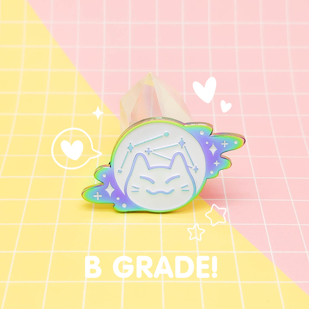 MEOWTER SPACE - rainbow metal B GRADE enamel pin - Space Cat
