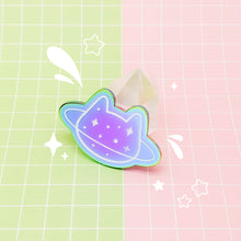 Load image into Gallery viewer, MEOWTER SPACE - rainbow metal enamel pin - Planet Cat