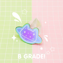 Load image into Gallery viewer, MEOWTER SPACE - rainbow metal B GRADE enamel pin - Planet Cat