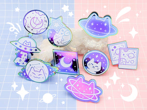MEOWTER SPACE - rainbow metal enamel pin - Starlight Dream