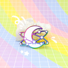 Load image into Gallery viewer, STARLUME - rainbow metal enamel pin - Moon