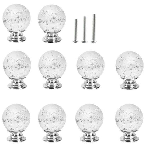 10 X 30MM Clear Glass Door Knobs with Bubbles - sos-casa-online-shop