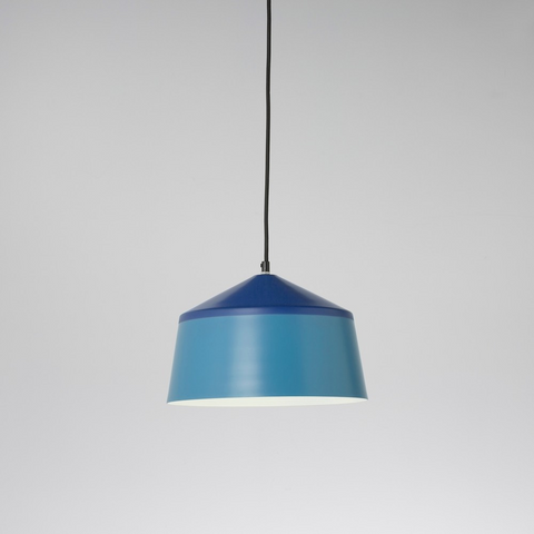 Blue pentagon-shaped aluminium pendant light with black cord