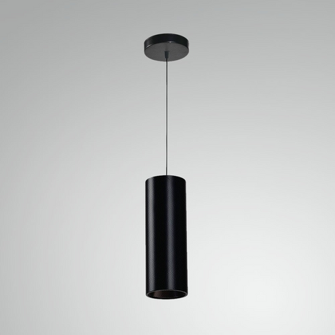 A black cannon-shaped pendant light hanging from a thin black cord